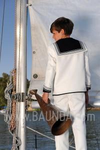 Traje de comunion marinero Varones 1001 color marfil en Madrid - espalda