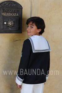 Traje de comunion marinero 2016 Varones 1007 combinado color azul marino y marfil en Madrid espalda
