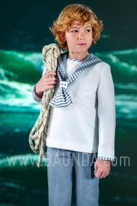 Traje de comunion marinero de lino 2016 Varones 1019 en Madrid