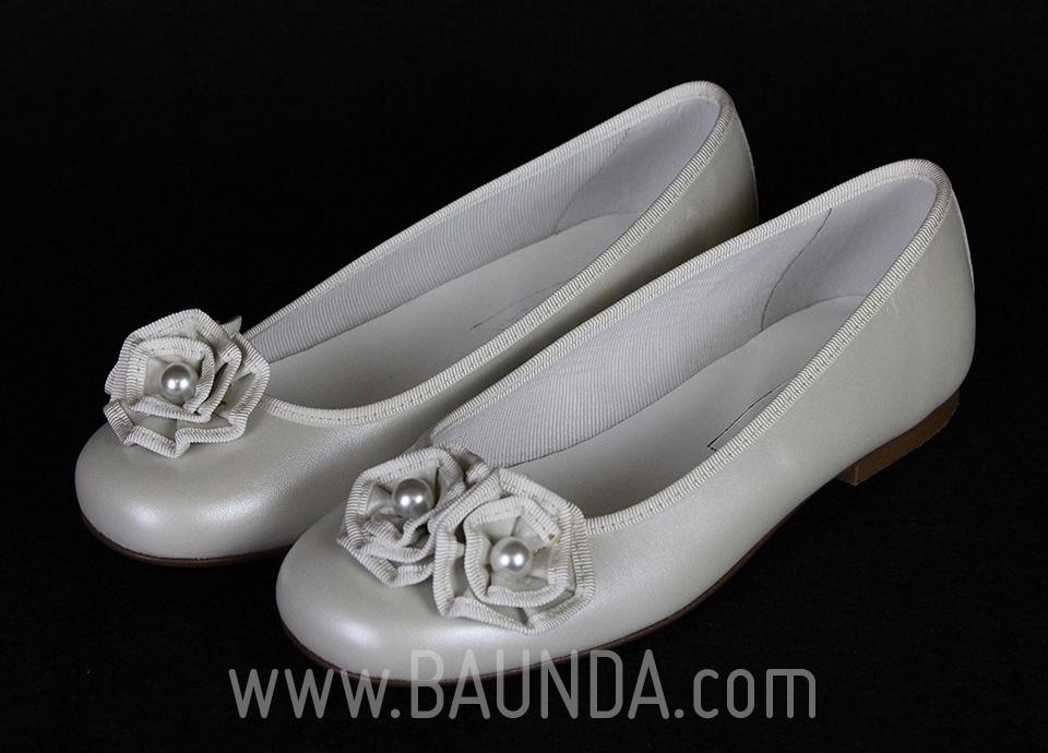 Zapatos de comunión con flor 2017 baunda Z1702