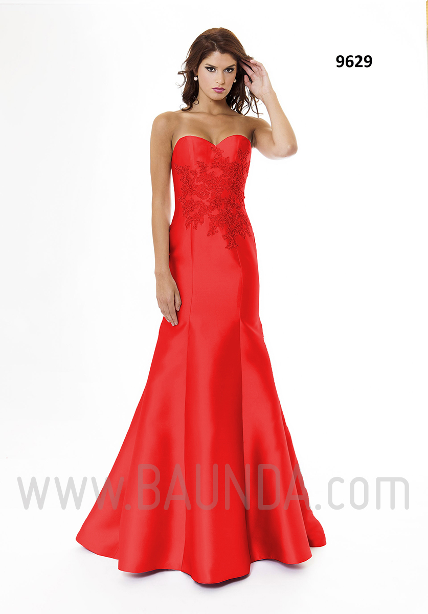 Vestido de fiesta largo 2016 XM 9629 rojo disponible en Baunda Madrid y tienda online