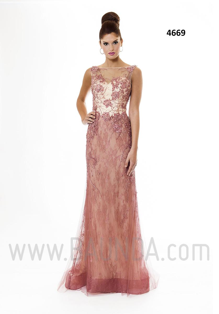 Vestido de fiesta largo 2016 xm 4669 rosa palo en madrid