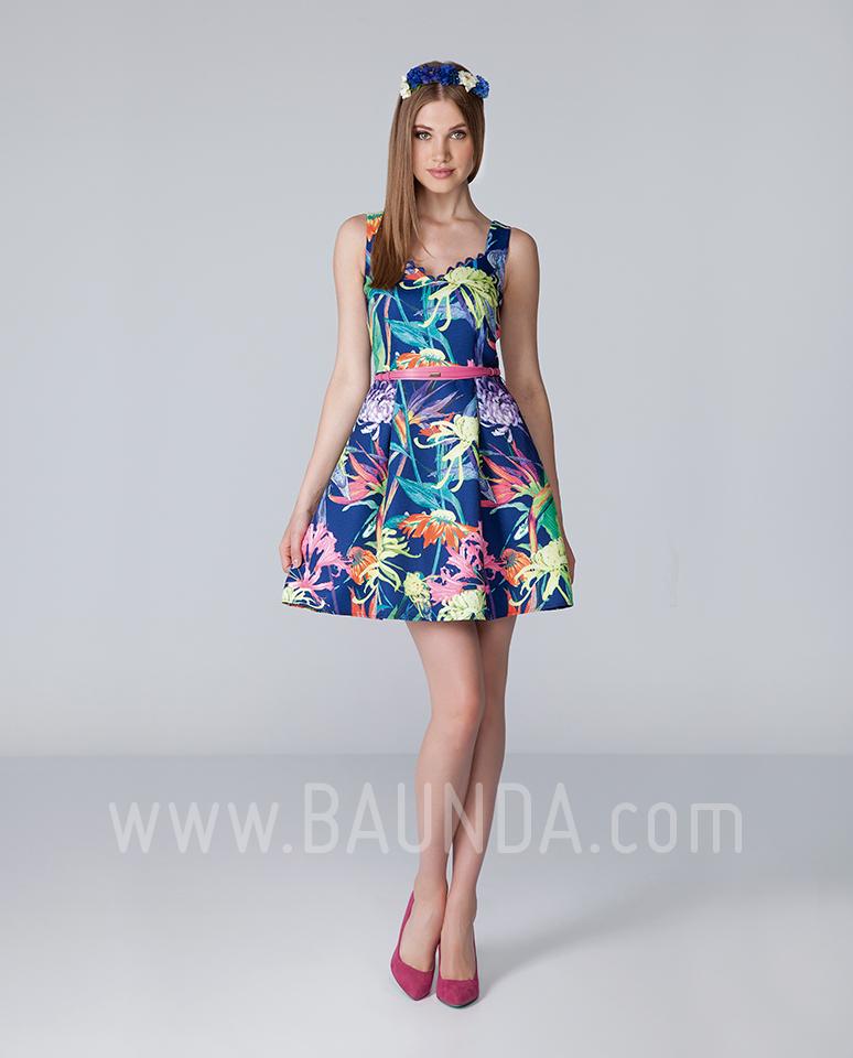Vestido de fiesta corto 2016 olimara 339 azulón estampado en madrid y tienda online