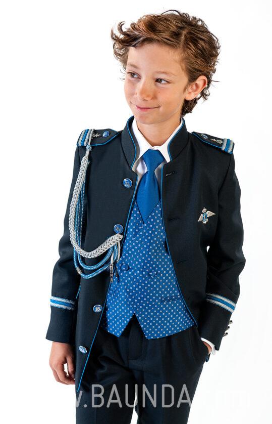 Traje de almirante cuello mao para niño 2018 Varones 2052 detalle