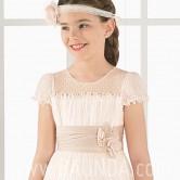 Vestido de comunión rosa palo 2017 Aire Barcelona IRMA cuerpo