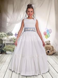 Vestido de comunión con fajín azul 2017 Angela 411