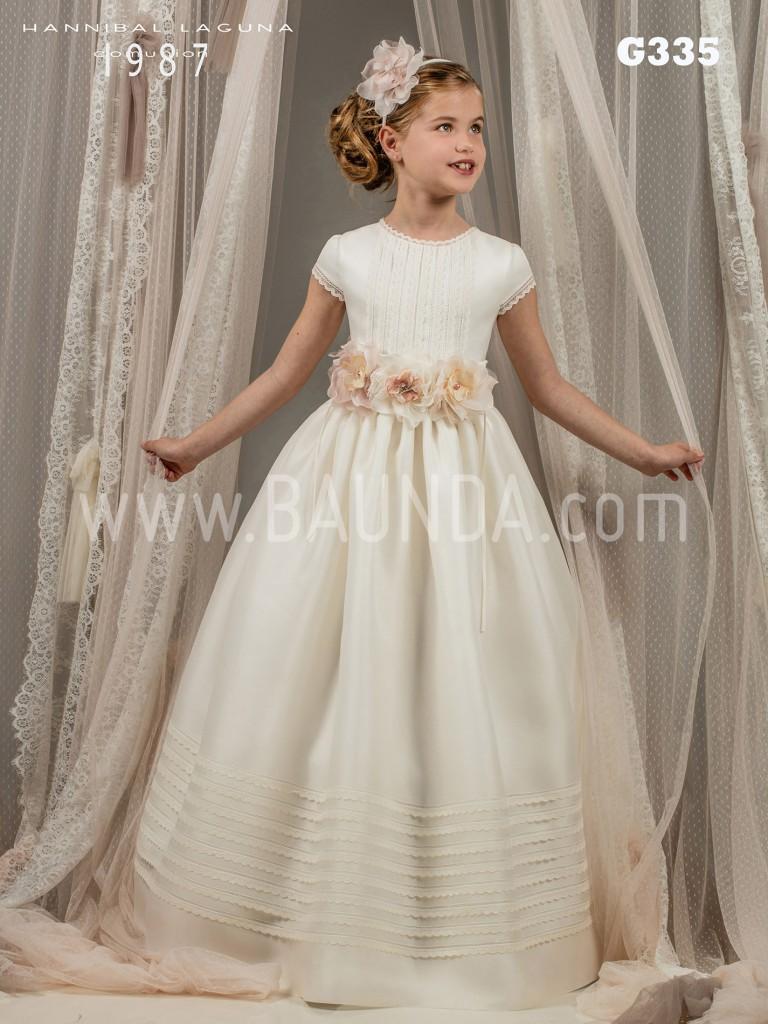 Vestido de comunión con fajín de flores 2017 Hannibal Laguna G335