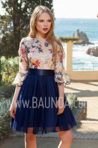 Vestido de fiesta corto con manga 2017 Baunda 1707