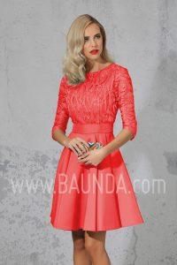 Vestido corto con manga al codo 2017 Isabel Campos 1705 coral