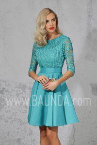 Vestido corto con manga al codo 2017 Isabel Campos 1706 turquesa