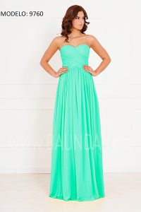 Vestido de fiesta verde agua xm 9760 largo