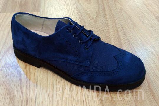 Zapatos de comunión modernos 2018 Baunda Z1858 de ante y lino azul marino