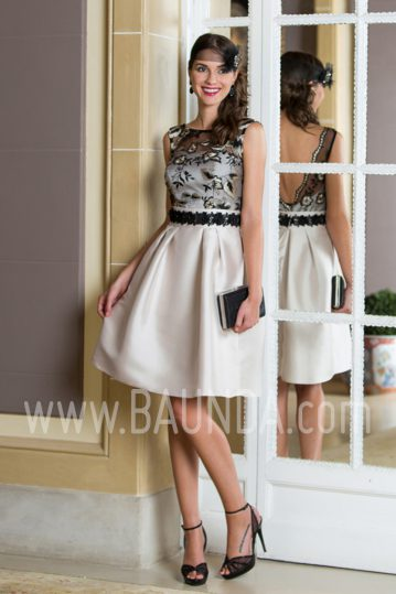 Vestido corto para bodas 2017 Baunda 1729 negro y champán