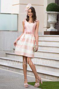 Vestido corto rosa palo para boda 2017 Baunda 1730