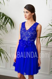 Vestido corto para invitada 2017 Baunda 1731 azulón