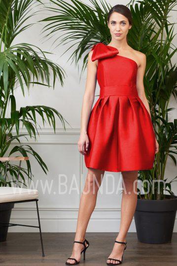 Vestido corto asimétrico rojo 2017 Baunda 1732
