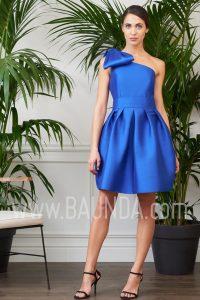 Vestido corto asimétrico azulón 2017 Baunda 1734