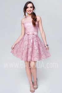 Vestido de fiesta corto rosa palo 2017 Baunda 1736