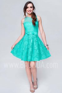 Vestido de fiesta corto verde agua 2017 Baunda 1737