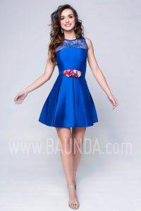 Vestido de fiesta corto azulón 2017 Baunda 1742