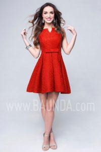 Vestido de invitada corto rojo 2017 Baunda 1744
