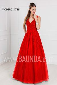 Vestido largo de tul 2017 XM 4739 rojo