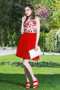 Vestido corto con falda de tul rojo 2017 Baunda 1747