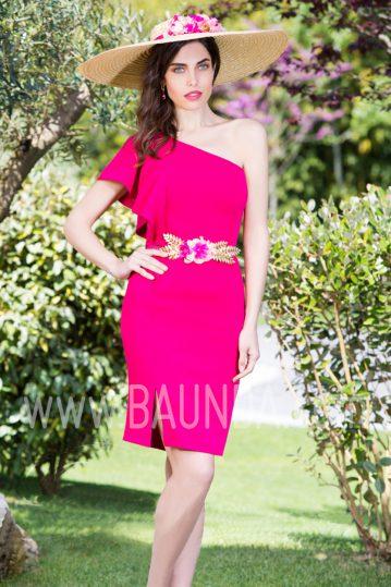 Vestido corto liso fucsia 2017 Baunda 1750