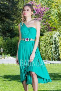 Vestido corto asimétrico verde 2017 Baunda 1753