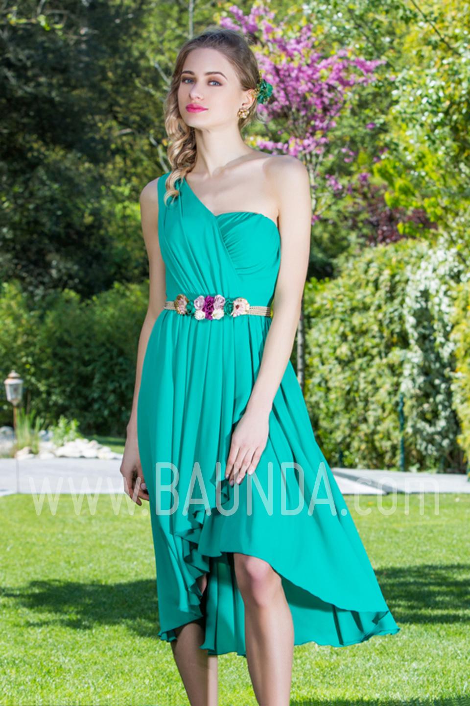 Baunda Vestido corto asimétrico verde 2017 Baunda 1751 en Madrid y ...