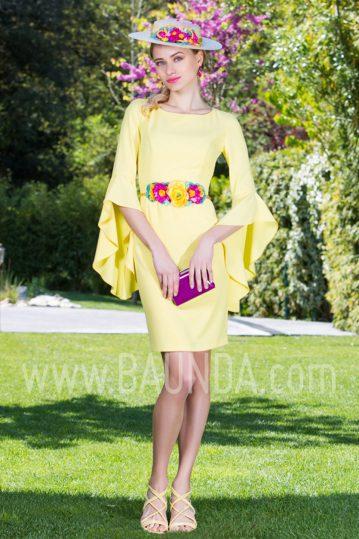 Vestido corto con manga amarillo 2017 Baunda 1754