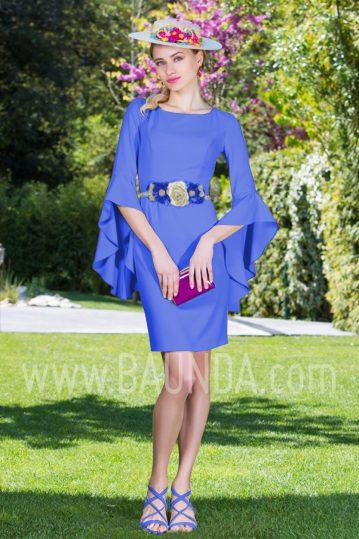 Vestido corto con manga azulón 2017 Baunda 1755