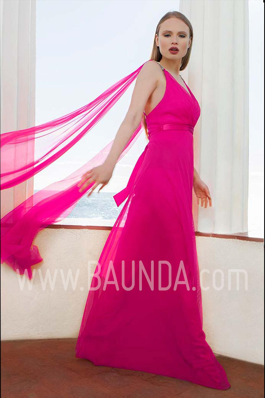 Baunda Vestido largo liso fucsia 2017 Baunda 1765 en Madrid y tienda ...