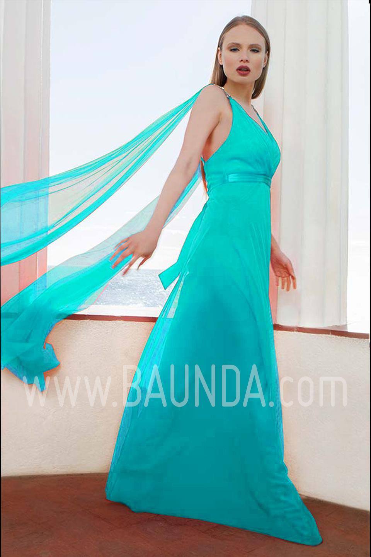 Baunda Vestido largo liso turquesa 2017 Baunda 1765 en Madrid y ...