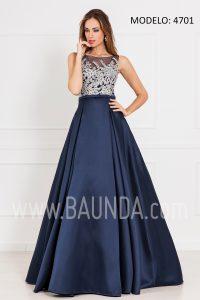 Vestido largo hermana de la novia 2017 xm 4701 marino y plata