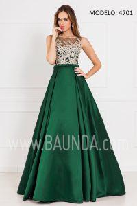 Vestido largo hermana de la novia 2017 xm 4701 verde y oro