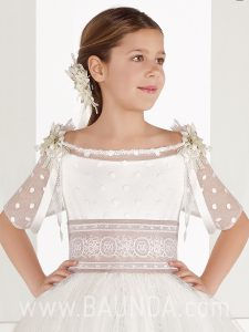 Vestido de comunión princesa Aire Barcelona 2018 FIORELLA detalle