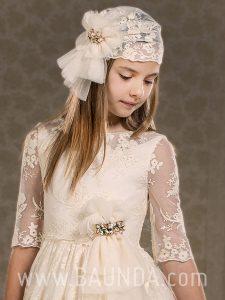 Vestido de comunión bordado El Caballo 2018 modelo H453 detalle