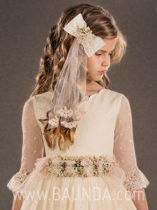 Vestido de comunión vintage 2018 Marla modelo H141 detalle