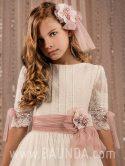 Vestido de comunión plumeti 2018 Marla modelo H277 detalle
