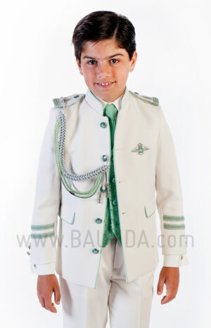 Traje de almirante verde 2018 Varones 2061 para comunión de niño detalle