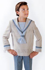 Traje de marinero original de lino para comunión 2018 Varones 1035 detalle