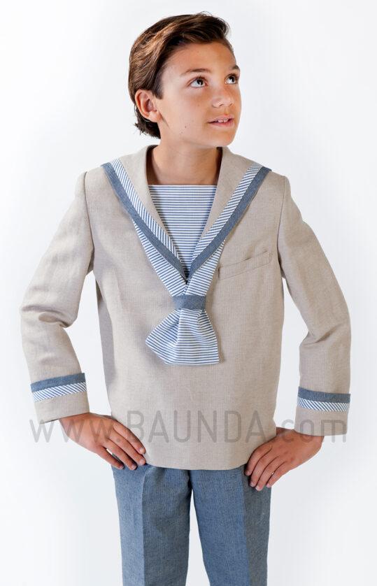 Traje de marinero original de lino para comunión 2019 Varones 1035 detalle
