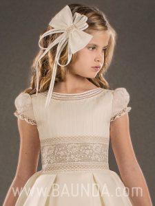 Vestido de comunión español Valeria 2018 modelo DAPHNE detalle