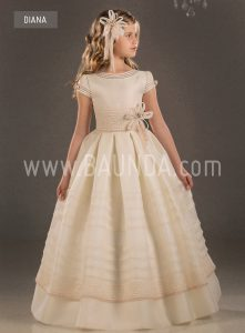 Communion dress natural silk Valeria 2018 model Diana