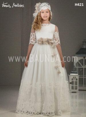 Vestido de comunión con encaje Francis Montesinos 2018 modelo H421