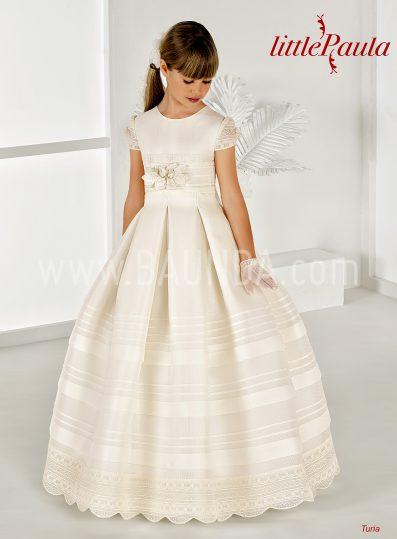 Communion dress in silk Little Paula 2018 model TURIA