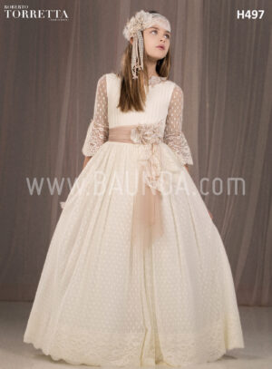 Communion dress spanish design Roberto Torretta 2018 model H497