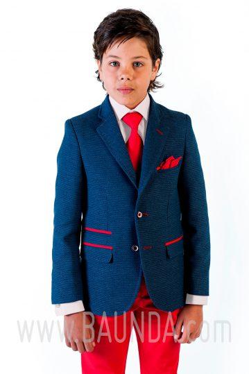 Traje comunión pantalón rojo Varones 2018 Sport 1840 C detalle