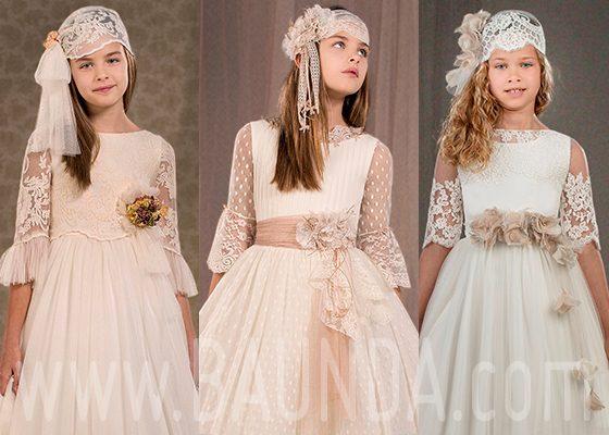 Vestidos de comunión manga francesa 2018 Baunda Madrid